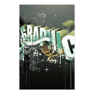 3D graphic text Customized Stationery
