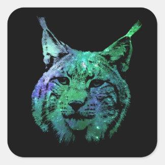 3D green purple Galaxy Lynx   cosmic Wild Cat Square Sticker
