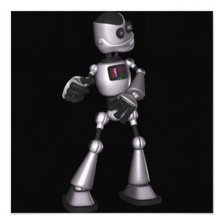 ♪♫♪ 3D Halftone Sci-Fi Robot Guy Dancing 5.25x5.25 Square Paper Invitation Card