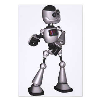 ♪♫♪ 3D Halftone Sci-Fi Robot Guy Dancing Custom Announcement