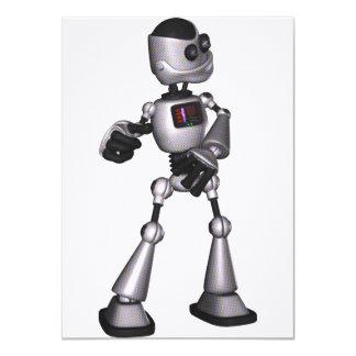 ♪♫♪ 3D Halftone Sci-Fi Robot Guy Dancing Custom Invitation