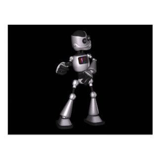 ♪♫♪ 3D Halftone Sci-Fi Robot Guy Dancing Postcard