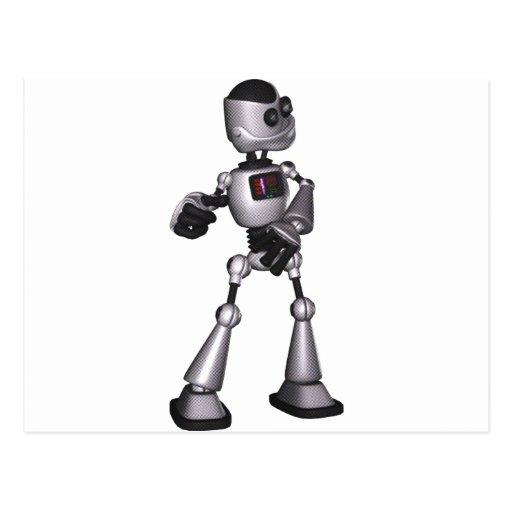 ♪♫♪ 3D Halftone Sci-Fi Robot Guy Dancing Postcards