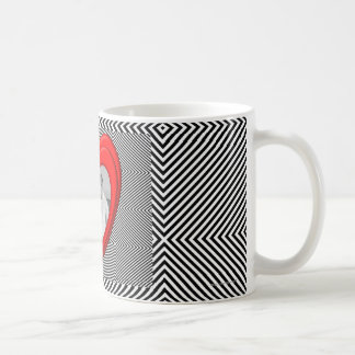 "3D heart shape ""diagonal black and white stripe"" Coffee Mug"