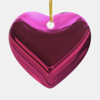 3D Heart Shaped Pink Ceramic Christmas Ornaments