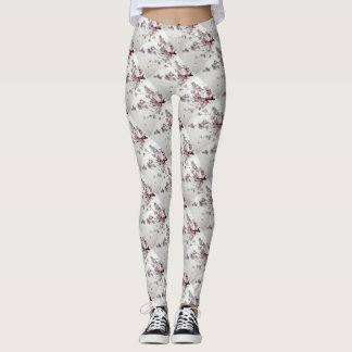 3D Japanese Cherry Blossoms Spiral Satin Leggings