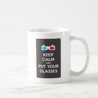 3D Keep Calm And Put You Glasses On Coffee Mugs