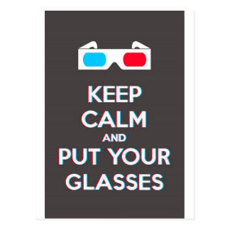 3D Keep Calm And Put You Glasses On Postcard