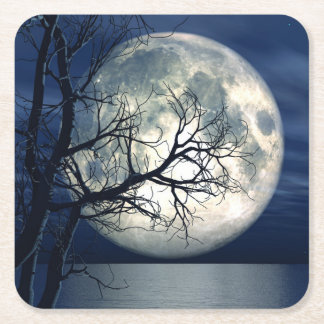 3D Landscape Background With Moon Over The Sea Square Paper Coaster