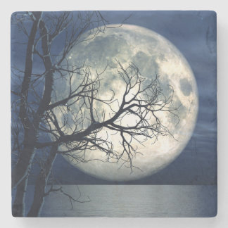 3D Landscape Background With Moon Over The Sea Stone Coaster