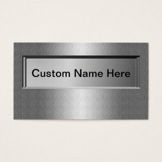 3D Look Name Plate Silver Metal Business Cards