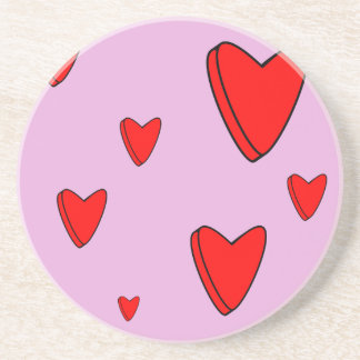3D Love Hearts Valentines Drink Coaster
