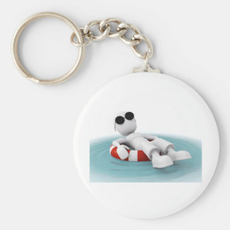 3d man relaxing in a pool key ring