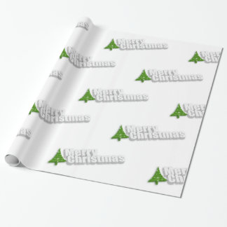 3D Merry Christmas Text and Green Xmas Tree Wrapping Paper