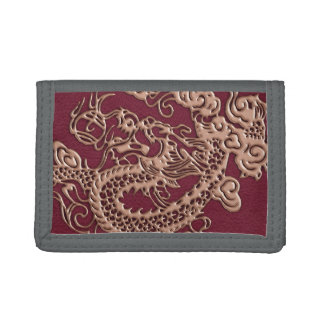 3D Metallic Dragons Leather Texture Trifold Wallet