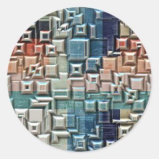 3D Metallic Structure Classic Round Sticker