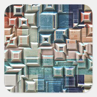 3D Metallic Structure Square Sticker