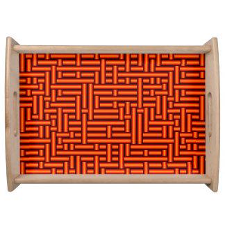 3D Metallic Woven Orange Tubes Serving Tray