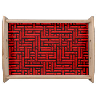 3D Metallic Woven Red Bars Serving Tray