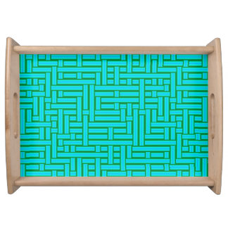 3D Metallic Woven Turquoise Tubes Serving Tray
