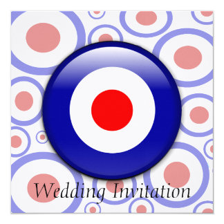 3d Mod Target sixties pattern Wedding invitation