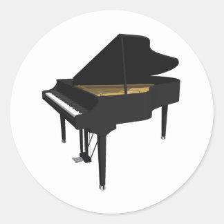 3D Model: Black Grand Piano: Round Sticker