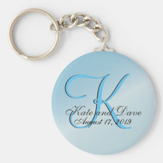 3d Monogram Aquamarine Basic Round Button Key Ring