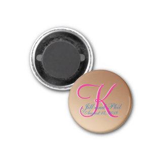 3d Monogram Copper 3 Cm Round Magnet