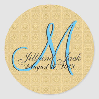 3d Monogram Embossed Gold Classic Round Sticker
