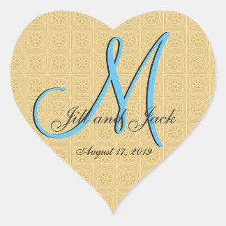 3d Monogram Embossed Gold Heart Sticker