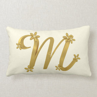 Gold letter m monogrammed cushions gold letter m for Letter m cushion