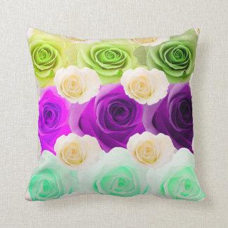 3D Multicolor Rose Pillow