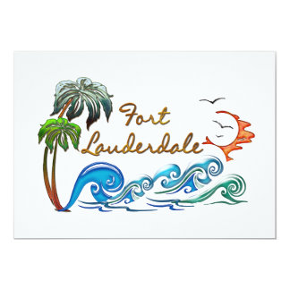 3d Palms, Waves & Sunset FORT LAUDERDALE Card