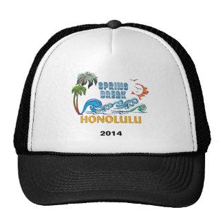 3D Palms Waves Sunset Spring Break HONOLULU Mesh Hat