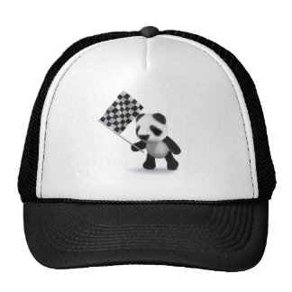 3d Panda Checkered Flag Cap