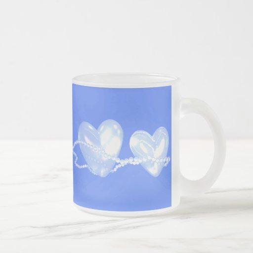 3D Pearl Hearts on Blue Coffee Mugs