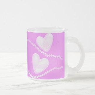 3D Pearl Hearts on Pink Mug