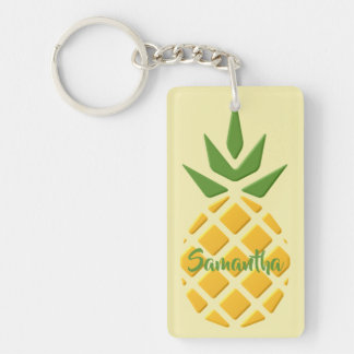 3D Pineapple and Pineapple Pattern Key Ring