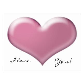 3D Pink Heart Postcard