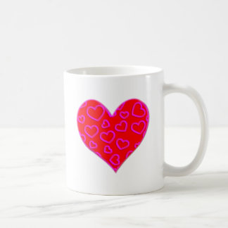 3D Pink Hearts Accented Heart Basic White Mug