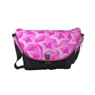 3D pink stars Messenger Bag