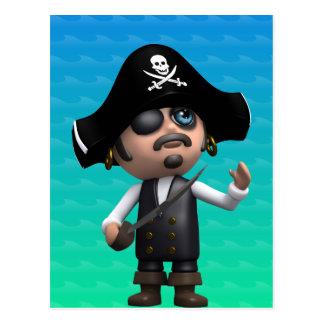 3d Pirate Looks Up (Any Color U Like!) Postcard