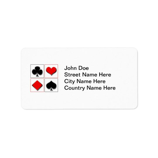 3D playing card suits Label