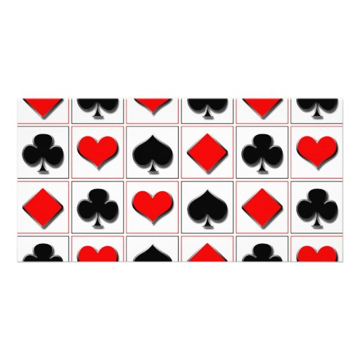 3D Playing card suits pattern Photo Greeting Card