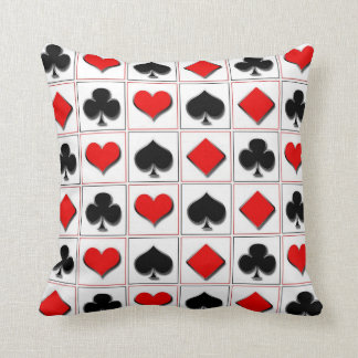 3D Playing card suits pattern Pillows