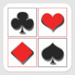 3D playing card suits Square Sticker