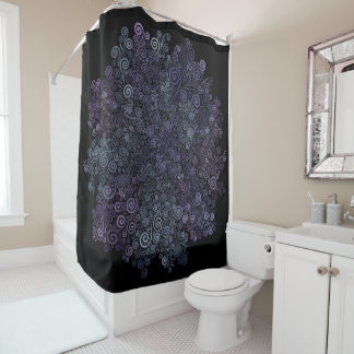 3d Psychedelic Violet and Teal Shower Curtain