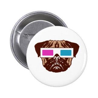 3D Pug 6 Cm Round Badge
