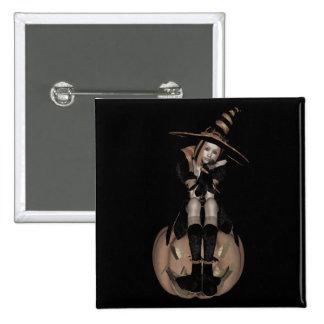 3D PUNK PUMPKIN GIRL - EARLY COLOR HALFTONE 15 CM SQUARE BADGE