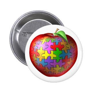 3D Puzzle Apple 6 Cm Round Badge